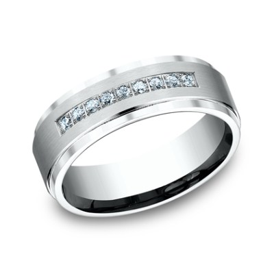 7MM WHITE GOLD COMFORT FIT PAVE SET BAND CF67380W - 7MM WHITE GOLD COMFORT-FIT PAVE SET BAND CF67380W