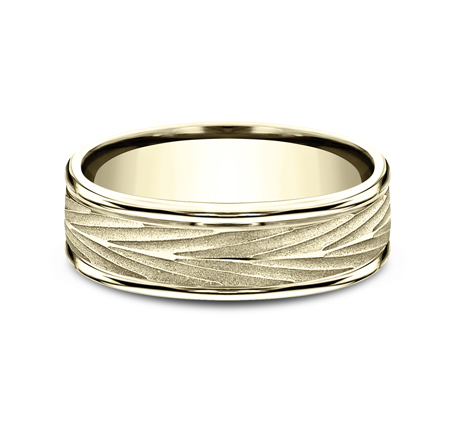 7MM YELLOW GOLD COMFORT FIT BAND RECF77337Y 2 - 7MM YELLOW GOLD COMFORT-FIT BAND RECF77337Y