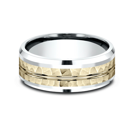 8MM 14K TWO TONE WHITE AND YELLOW GOLD DESIGN BAND CF418185 2 - 8MM 14K TWO TONE WHITE AND YELLOW GOLD DESIGN BAND CF418185