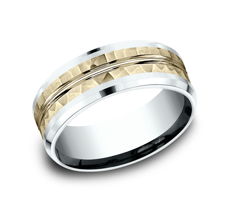 8MM 14K TWO TONE WHITE AND YELLOW GOLD DESIGN BAND CF418185 - 8MM 14K TWO TONE WHITE AND YELLOW GOLD DESIGN BAND CF418185