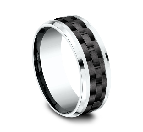 8MM 14K WHITE GOLD DESIGN BAND CF458672BKTW 1 - 8MM 14K WHITE GOLD DESIGN BAND CF458672BKTW