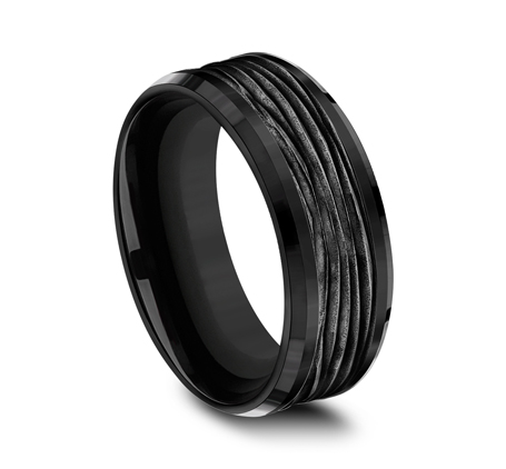 8MM BLACK TITANIUM DESIGN BAND CF368743BKT 1 - 8MM BLACK TITANIUM DESIGN BAND CF368743BKT