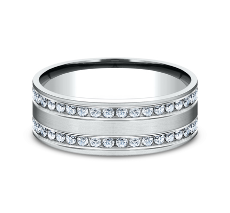 8MM COMFORT FIT CHANNEL SET BRUSHED DIAMOND ETERNITY BAND CF528551W 2 - 8MM COMFORT-FIT CHANNEL SET BRUSHED DIAMOND ETERNITY BAND CF528551W