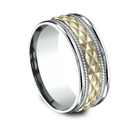 8MM EDGY YELLOW GOLD DESIGN BAND CF178040 1 - 8MM EDGY YELLOW GOLD DESIGN BAND CF178040