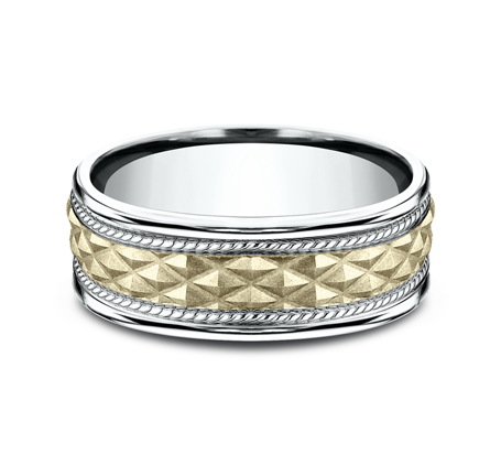 8MM EDGY YELLOW GOLD DESIGN BAND CF178040 2 - 8MM EDGY YELLOW GOLD DESIGN BAND CF178040