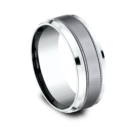 8MM MULTI MATERIAL WHITE GOLD DESIGN BAND CF458013SGTAW 1 - 8MM MULTI-MATERIAL WHITE GOLD DESIGN BAND CF458013SGTAW