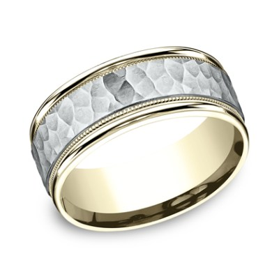 8MM TWO TONED CARVED DESIGN BAND CF158308 - 8MM TWO-TONED CARVED DESIGN BAND CF158308