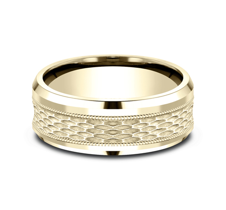 8MM YELLOW GOLD DESIGN BAND CF408497Y 2 - 8MM YELLOW GOLD DESIGN BAND CF408497Y