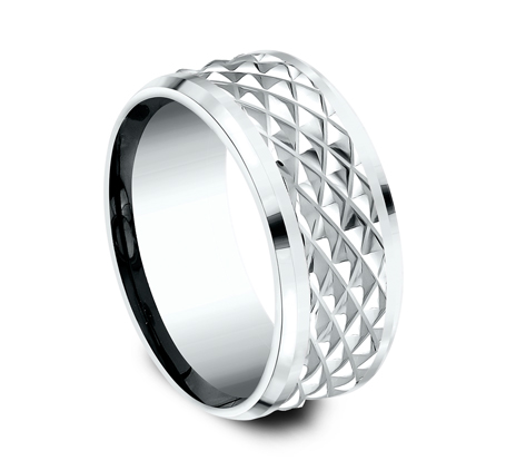 9MM WHITE GOLD DESIGN BAND CF409679W 1 - 9MM WHITE GOLD DESIGN BAND CF409679W