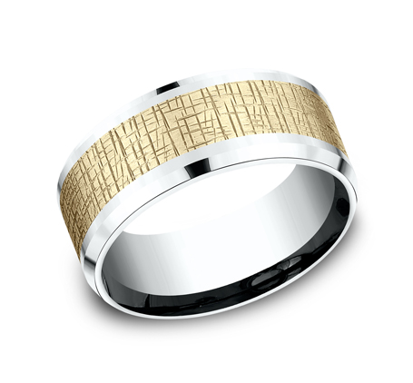 9MM YELLOW GOLD CENTER ON WHITE GOLD DESIGN BAND CF419752 - 9MM YELLOW GOLD CENTER ON WHITE GOLD DESIGN BAND CF419752
