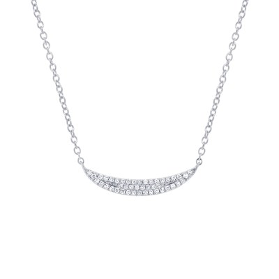 0.11ct 14k White Gold Diamond Pave Crescent Pendant SC55001916 - 0.11ct 14k White Gold Diamond Pave Crescent Pendant SC55001916