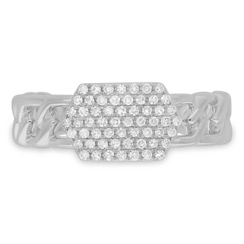 0.22ct 14k White Gold Diamond Pave ID Chain Ring SC36213797 1 - 0.22ct 14k White Gold Diamond Pave ID Chain Ring SC36213797