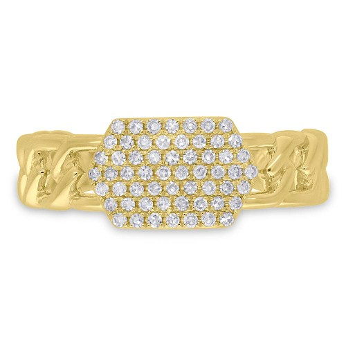 0.22ct 14k Yellow Gold Diamond Pave ID Chain Ring SC36213798 1 - 0.22ct 14k Yellow Gold Diamond Pave ID Chain Ring SC36213798