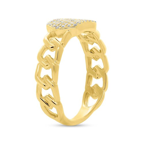 0.22ct 14k Yellow Gold Diamond Pave ID Chain Ring SC36213798 2 - 0.22ct 14k Yellow Gold Diamond Pave ID Chain Ring SC36213798