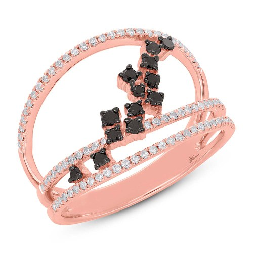 0.43ct 14k Rose Gold Black White Diamond Ladys Ring SC36213805 - 0.43ct 14k Rose Gold Black & White Diamond Lady's Ring SC36213805