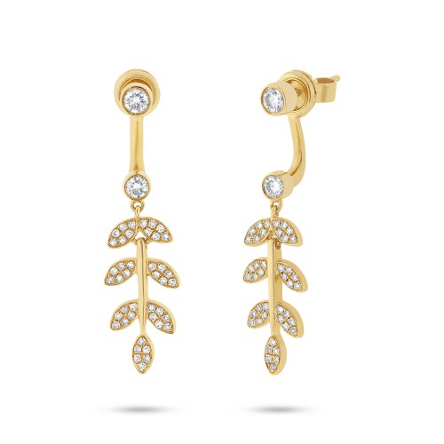 0.47ct 14k Yellow Gold Diamond Leaf Ear Jacket Earring with Studs SC55001780 - 0.47ct 14k Yellow Gold Diamond Leaf Ear Jacket Earring with Studs SC55001780