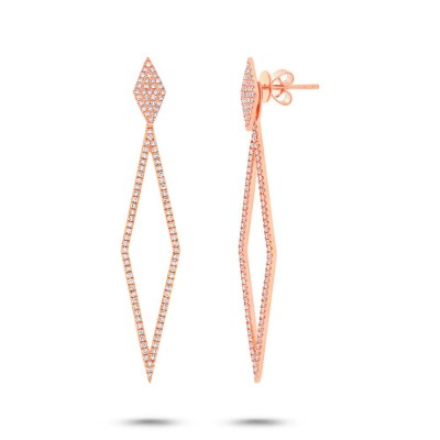 0.56ct 14k Rose Gold Diamond Ear Jacket Earring with Studs SC55002326 - 0.56ct 14k Rose Gold Diamond Ear Jacket Earring with Studs SC55002326