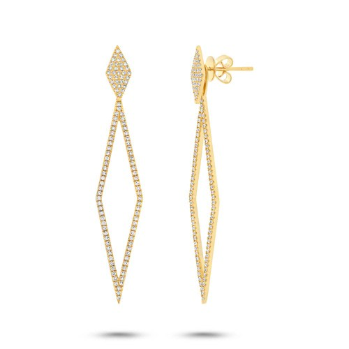 0.56ct 14k Yellow Gold Diamond Ear Jacket Earring with Studs SC55002325 - 0.56ct 14k Yellow Gold Diamond Ear Jacket Earring with Studs SC55002325