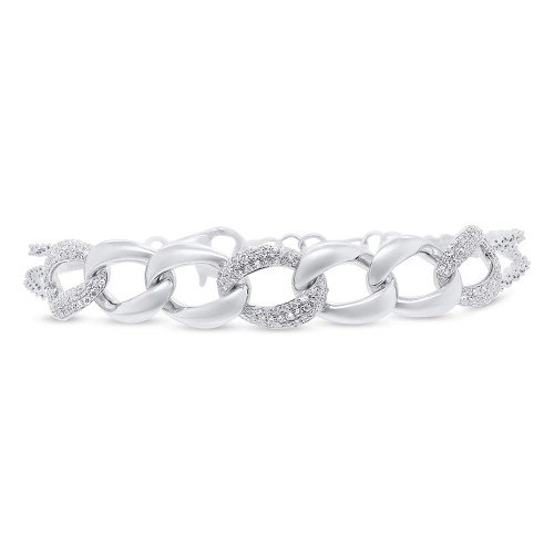 0.57ct 14k White Gold Diamond Pave Chain Bracelet SC55006922 - 0.57ct 14k White Gold Diamond Pave Chain Bracelet SC55006922