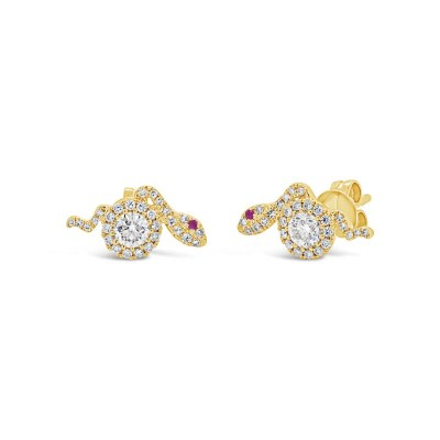 0.61ct Diamond 0.02ct Ruby 14k Yellow Gold Snake Stud Earring SC55007231 - 0.61ct Diamond & 0.02ct Ruby 14k Yellow Gold Snake Stud Earring SC55007231