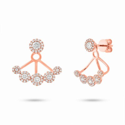 0.80ct 14k Rose Gold Diamond Earring Jacket with Studs SC55003079 - 0.80ct 14k Rose Gold Diamond Earring Jacket with Studs SC55003079