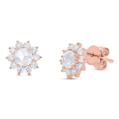 0.91ct 14k Rose Gold Diamond Flower Rose Cut Stud Earring SC55005785 - 0.91ct 14k Rose Gold Diamond Flower Rose Cut Stud Earring SC55005785