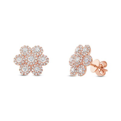 0.95ct 14k Rose Gold Diamond Flower Stud Earring SC55003102 - 0.95ct 14k Rose Gold Diamond Flower Stud Earring SC55003102