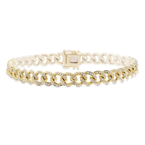 0.98ct 14k Yellow Gold Diamond Pave Chain Bracelet SC55004679Z6.5 - 0.98ct 14k Yellow Gold Diamond Pave Chain Bracelet SC55004679Z6.5