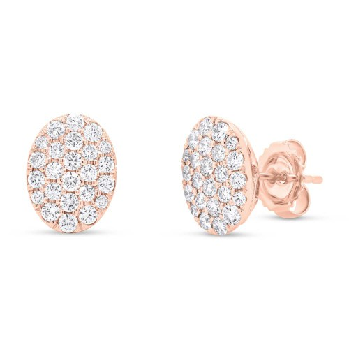 0.99ct 14k Rose Gold Diamond Pave Oval Earring SC22004749 - 0.99ct 14k Rose Gold Diamond Pave Oval Earring SC22004749