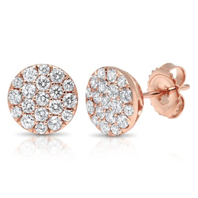 1.01ct 14k Rose Gold Diamond Pave Circle Earring SC22004755 - 1.01ct 14k Rose Gold Diamond Pave Circle Earring SC22004755