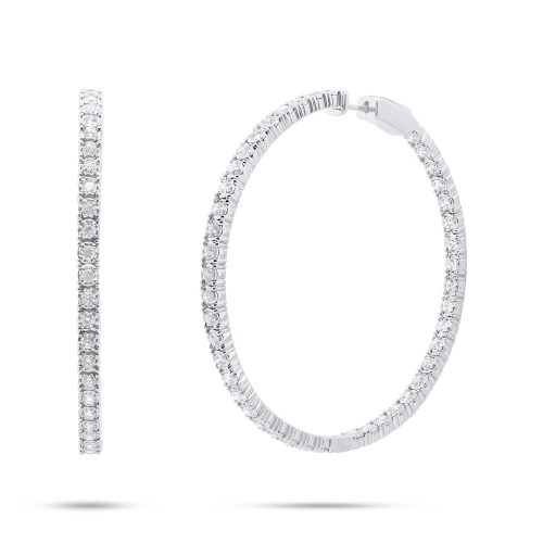 2.65ct 14k White Gold Diamond Hoop Earring SC55006173 - 2.65ct 14k White Gold Diamond Hoop Earring SC55006173