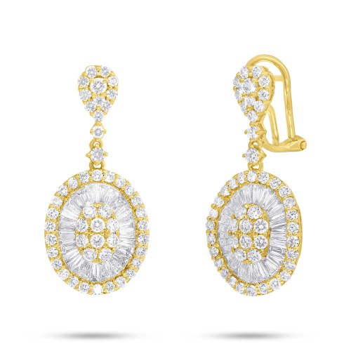 3.43ct 14k Yellow Gold Diamond Baguette Earring SC37215632 - 3.43ct 14k Yellow Gold Diamond Baguette Earring SC37215632
