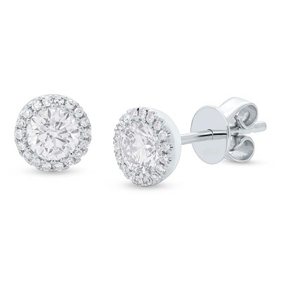 z sc55005503 - 0.80ct Round Brilliant Center and 0.10ct Side 14k White Gold Diamond Stud Earring SC55005503
