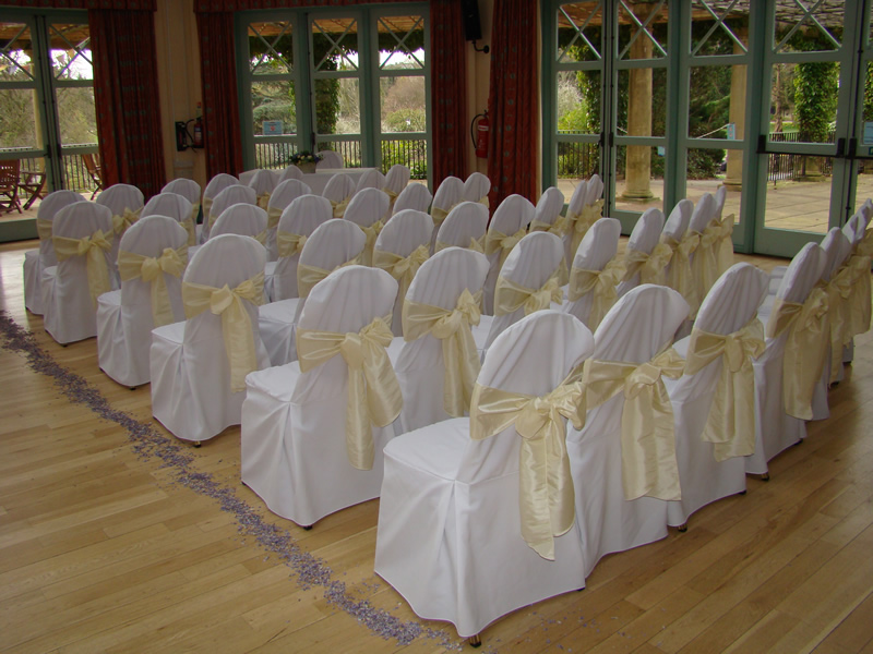 cream chair covers for weddings patterned upholstered dining chairs wedding cover hire harrogate taffeta