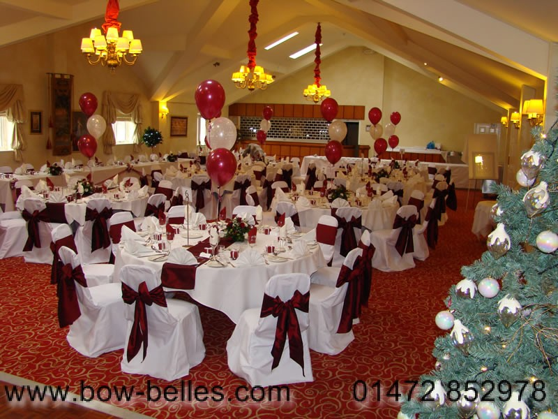 burgundy chair covers wedding gaming reviews canada cover hire white with sash and runners