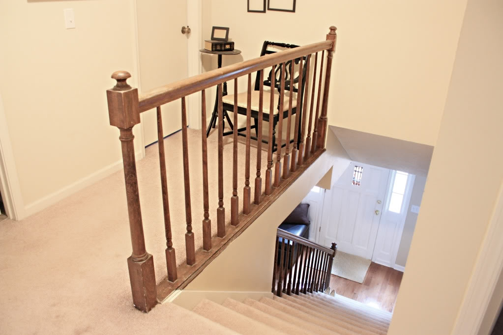 How To Paint Stairway Railings Bower Power | Top Of Stairs Banister | High End | Indoor | Barn Beam | Redo | Glass