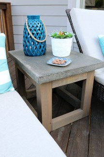 Concrete & Wood Outdoor Side Table - Bower Power