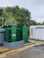 Showing a Bowers 1500KV Transformer in a custom green colour.