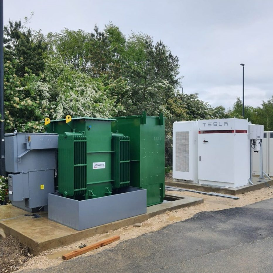 Showing a Bowers 1500KV Transformer in a custom green colour, which will power the EV charging hubs.