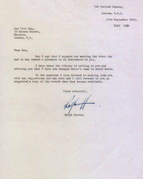 Letter from Ralph Horton to Kenneth Pitt revealing Davie Jones's new name David Bowie, 17 September 1965