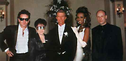 David Bowie and Iman with Bono, Yoko Ono and Brian Eno, 6 June 1992