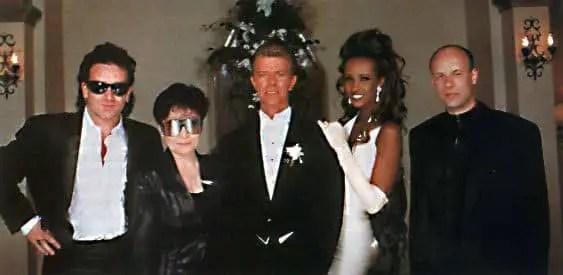 David Bowie and Iman with Bono, Yoko Ono and Brian Eno, 6 June 1992