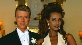David Bowie and Iman at their wedding celebration in Florence, Italy, 6 June 1992