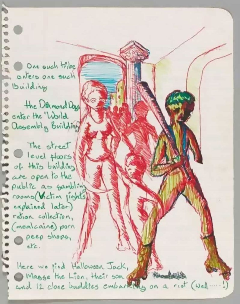 David Bowie's sketch and notes for Diamond Dogs film, 1975