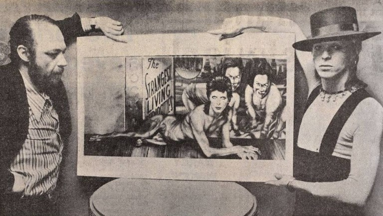 Guy Peellaert presents the Diamond Dogs artwork to David Bowie, 7 March 1974