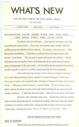 Press release for Liza Jane, June 1964 –part one
