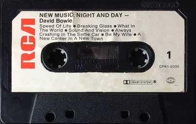Cassette of David Bowie's Low, with the title New Music: Night And Day
