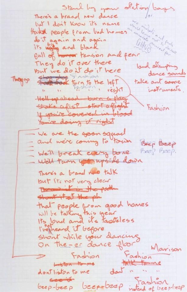 David Bowie's handwritten lyrics for Fashion