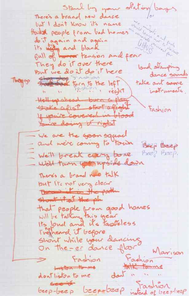 David Bowie's handwritten lyrics for Fashion