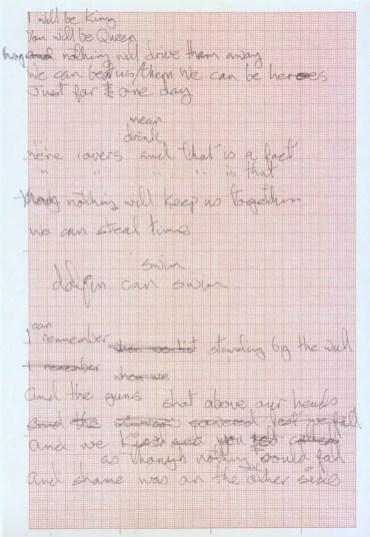 "David Bowie's handwritten lyrics for ""Heroes"""